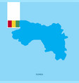 guinea country map with flag over blue background vector image