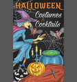 halloween witch party trick treat poster vector image vector image