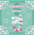 hand-drawn doodles with merry christmas and happy vector image
