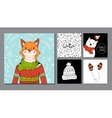 hand drawn fox portrait and winter background vector image