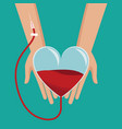 hand holding heart glass blood donor vector image vector image