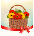 holiday easter background with colorful flowers vector image vector image