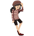 little hipster girl on white background vector image