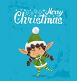 merry christmas elf greeting with xmas holiday vector image vector image