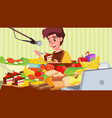 mukbang eating show girl cooking a lot of vector image vector image