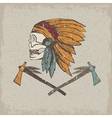 Native American chief skull in tribal headdress vector image vector image