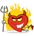Naughty Red Heart Character Devil vector image vector image