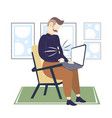 obese businessman with fat belly using laptop vector image vector image