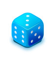 realistic blue casino dice in isometric view on vector image