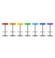 realistic detailed 3d color bar stools set vector image vector image