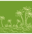 Sea island with palm trees contours on green vector image