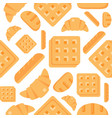 seamless pattern bakery product waffle bread vector image vector image