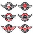 set biker club emblems templates skull vector image vector image