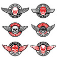 set of biker club emblems templates skull with vector image vector image
