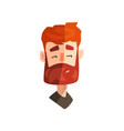 skeptical redhead bearded man male emotional face vector image vector image