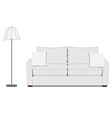 Sofa and floor lamp vector image vector image