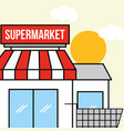 supermarket facade with shopping cart vector image