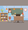teacher in the classroom with bookcase and vector image