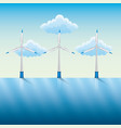 windmills and power by the river blue sky vector image