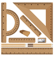 Wooden ruler and Drawing set on white background vector image vector image
