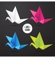 paper origami crane bird icon Colorful vector image