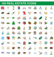 100 real estate icons set cartoon style vector image vector image