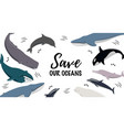 banner with text save our oceans icons vector image vector image