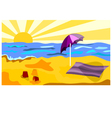 Beach in a sunny day vector image vector image