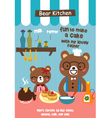 bear cafe doodle vector image vector image
