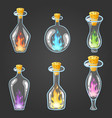big set of bottle elixir with flame vector image