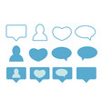 blue likes followers and message icons vector image vector image