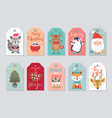 christmas gift tags set with cute characters vector image vector image