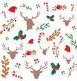 christmas reindeer elements seamless pattern vector image