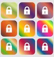 closed lock icon Nine buttons with bright vector image