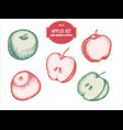 collection of hand drawn pastel apples vector image vector image