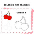 coloring and drawing book element cherry drawing vector image