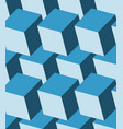 cubes 3d seamless pattern monochrome blue vector image