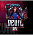 devil girl esport mascot logo design vector image vector image