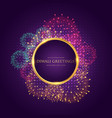 diwali greeting with colorful fireworks vector image