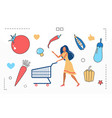 food cooking woman character and supermarket vector image vector image
