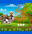 game cow maze find way to the word vector image vector image