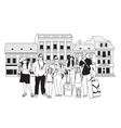 Group tourists people black and white in abstract vector image vector image