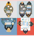 groups of business people working for office desk vector image vector image