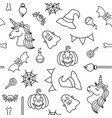 halloween things and unicorn black outline vector image vector image