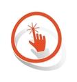 Hand cursor sign sticker orange vector image vector image