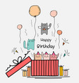happy birthday card with cute cat in the big gift vector image vector image