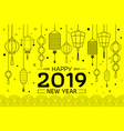 happy chinese new year 2019 yellow background vector image vector image