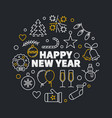 happy new year linear circular vector image