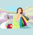 happy woman shopping in a mall vector image vector image