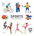 Infographic Health Sport and Wellness Flat Icons vector image vector image
